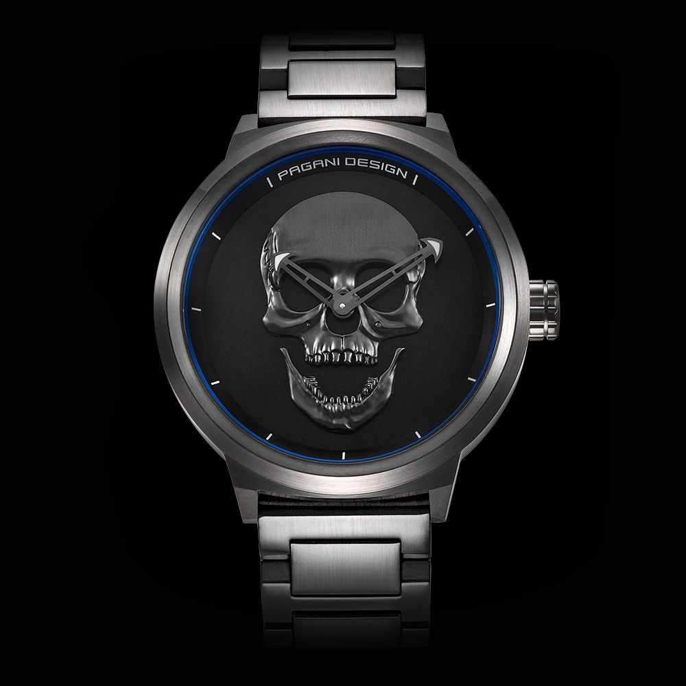 Brand PAGANI DESIGN Punk 3D Skull Personality Retro Fashion Men's Watches Large Dial Design Waterproof Quartz Watch Dropshipping