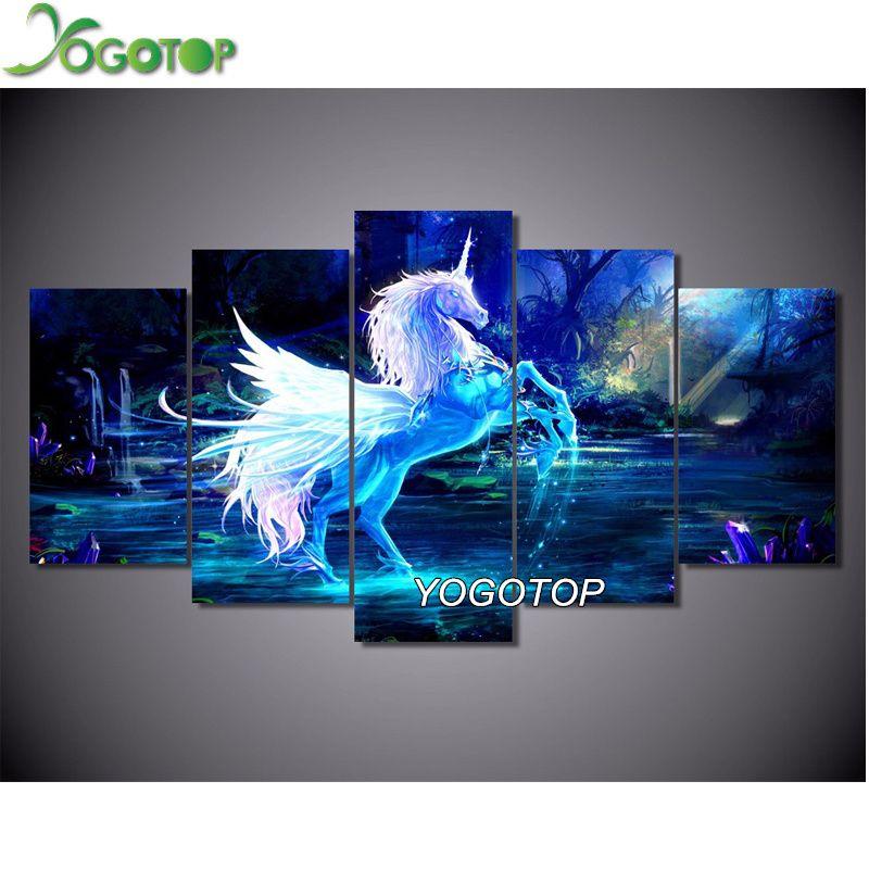 YOGOTOP Diamond embroidery unicorn horse 5pcs/set 5D DIY Diamond Painting Cross Stitch Diy Square Mosaic home Decor ML014