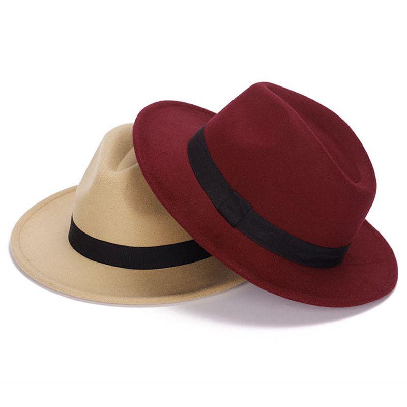 Drop Shipping Wide Brim Classic Simple Design Lady Women Fedoras for Girls Solid Colors Gorros Cap Women's Hats Chapeau Femme