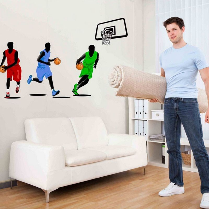 3D Wallpaper Threesome Basketball Dunk NBA Boy Room Decor Wall Stickers Living Room Bedroom TV Background Room Murals