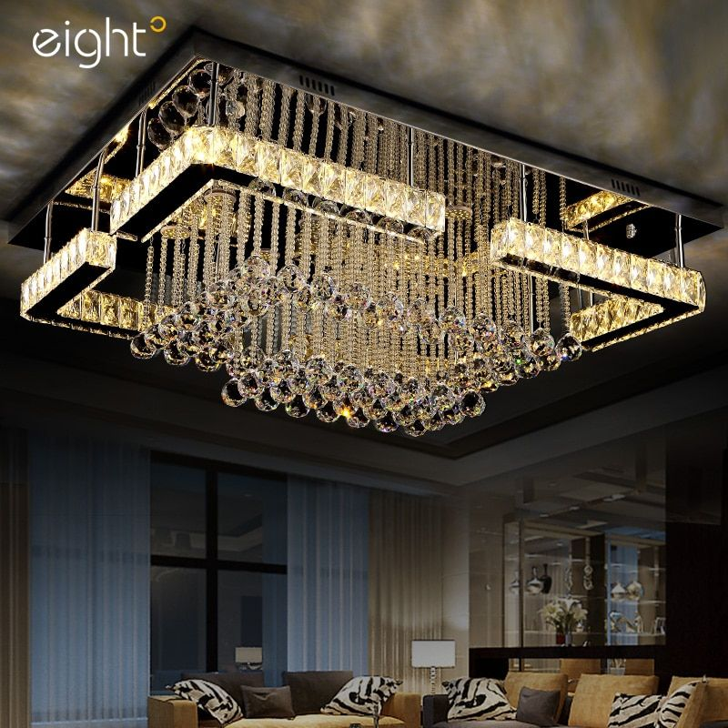Living room lights Rectangular LED crystal lights Atmospheric ceiling lamps