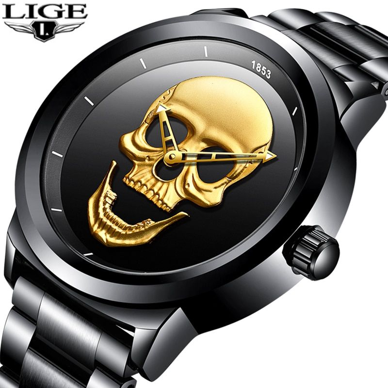 Relogio Masculino LIGE Mens Watches New Skull Watch Men's Military Sports Watch Men Waterproof Stainless Steel Gold Quartz Clock