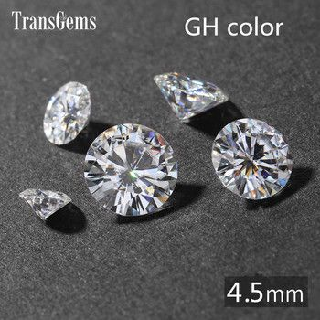 TransGems 1Piece 4.5mm GH Colorless Round Hearts and Arrows Cut Lab Grown Moissanite Diamond Loose Stone for Jewelry Making