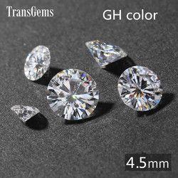 Transgems 1 Buah 4.5 Mm Gh Tidak Berwarna Bulat Hati dan Panah Cut Lab Tumbuh Moissanite Berlian Batu untuk Perhiasan membuat