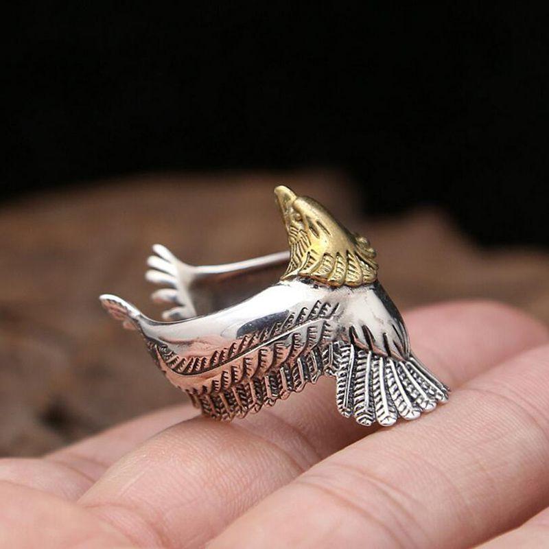 Hombres Mujeres anillo plata 925 joyería punky águila moda ajustable anillo Navidad regalo Joyería fina R3