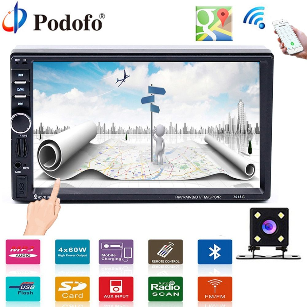 Podofo 2 din Car Multimedia Player GPS navigation Bluetooth Audio Stereo radio 7