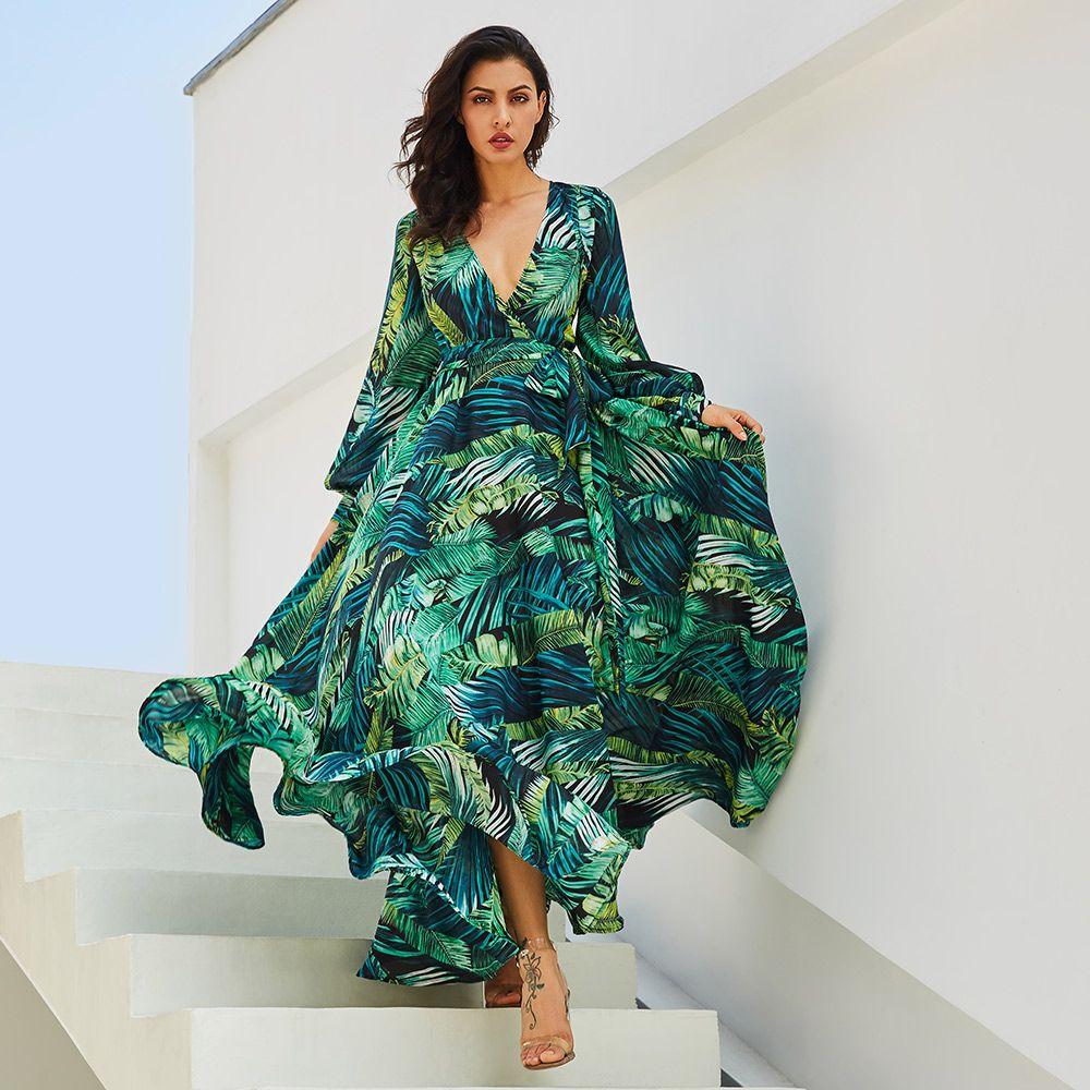 vestidos Maxi Dress Boho Beach Dress Women Sundress Green Tropical Print Belt Lace Up Tunic Draped Plus Size Long Dress Vintage