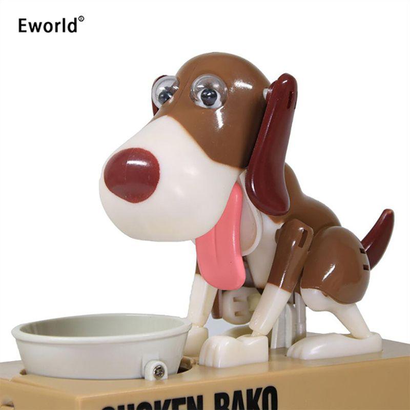 Eworld robot faim manger chien Banco Canino tirelire automatique étole tirelire économie d'argent boîte cadeau pour enfant
