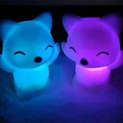 LED noche luz 7 cambiar colores precioso Fox forma LED noche batería de botón incluidas dormitorio decoración hogar Iluminación atmósfera