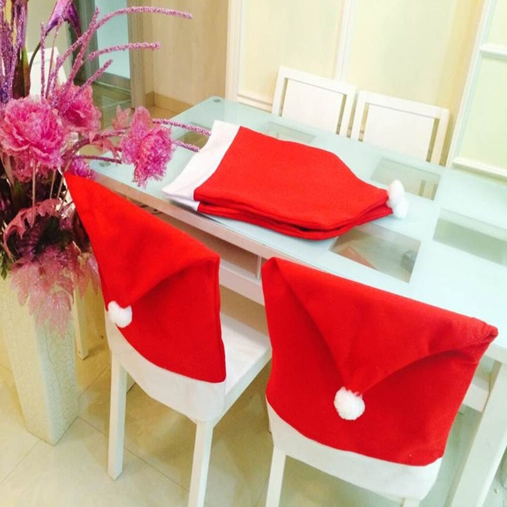 6Pcs/Lot Christmas Decoracion Navidad Hat Chair Covers Christmas Decorations for Home Dinner Table New Year Party Supplies