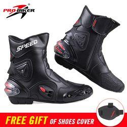 Velocidad PRO-BIKER tobillo equipo de protección motocicleta botas Zapatos Moto motocicleta Racing Motocross botas negro rojo blanco