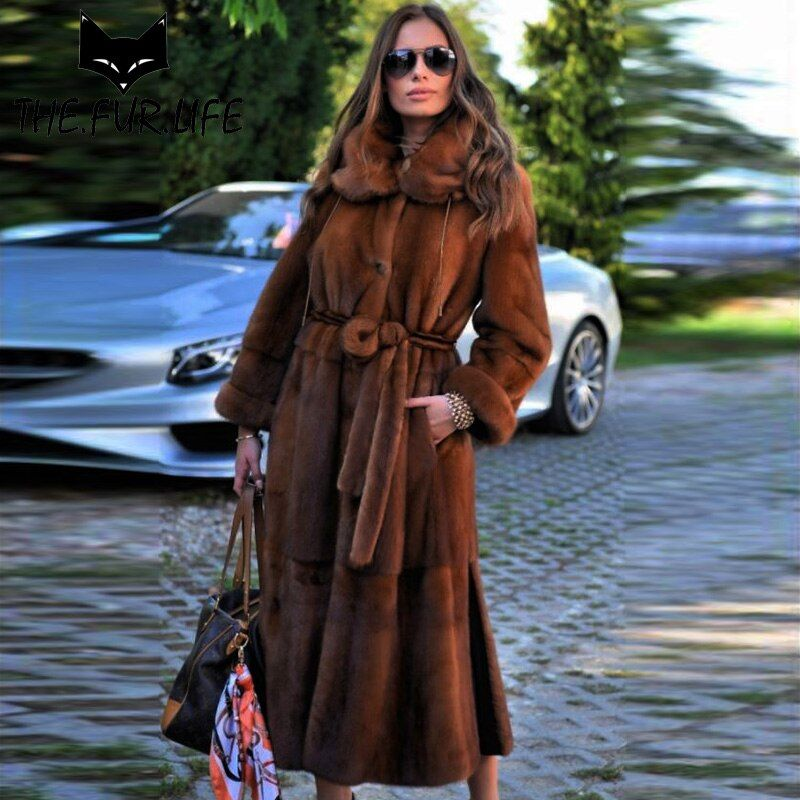 Wholeskin Mink Fur Coats For Women Creative Wear On Both Sides Nature Mink Fur Jackets Real Fur X-long Warm Winter Clothes 2018