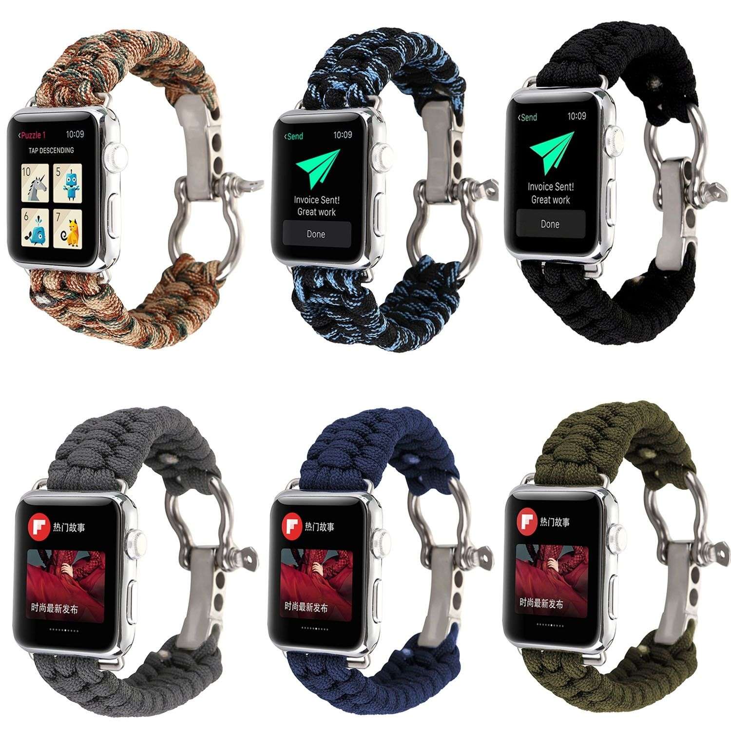Outdoors Sports Wrist Strap For Apple Watch Band 42mm 38mm Survival Rope Metal Bolt Clasp Wristband For iWatch 1st 2nd 3rd