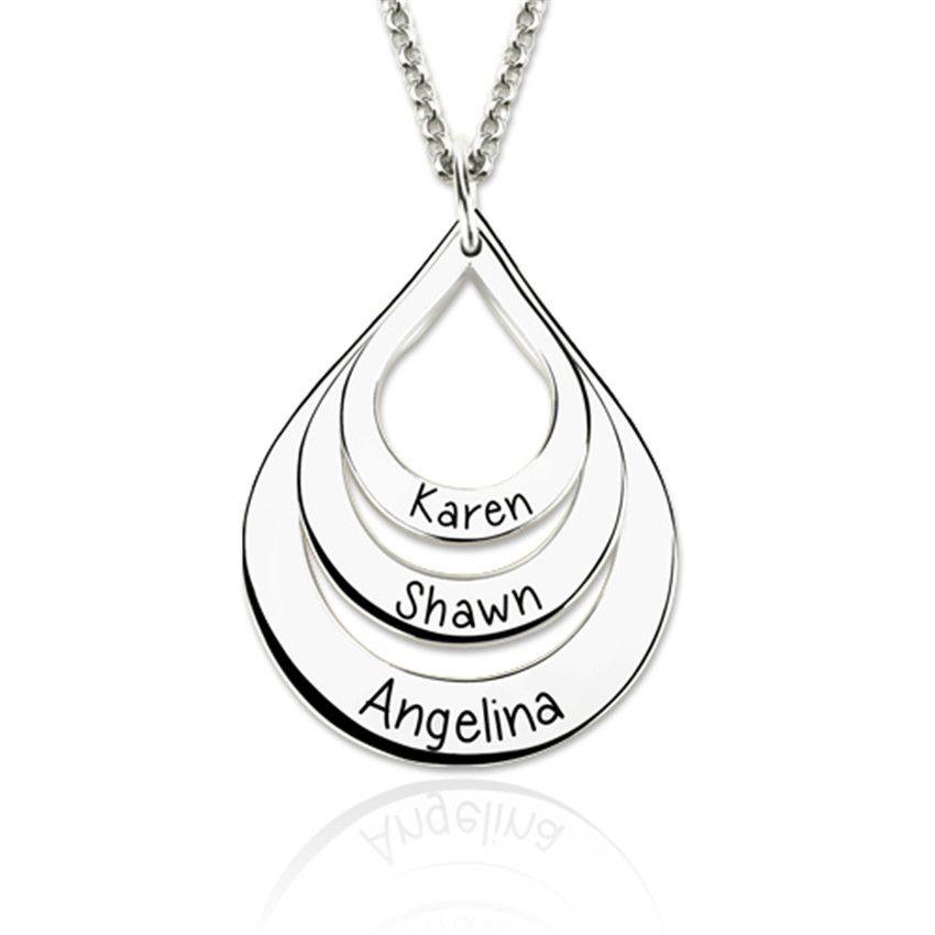 Bijoux de famille 2019 à la mode exquis élégant personnalisé nom collier peut graver 3 noms bienvenue livraison directe YP3203