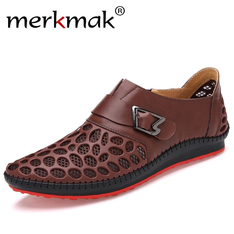 Merkmak Men Shoes Casual Genuine Leather Shoes Mens Luxury Brand Summer Leisure Breathing Flats For Men New 2018 Zapatos <font><b>Hombre</b></font>