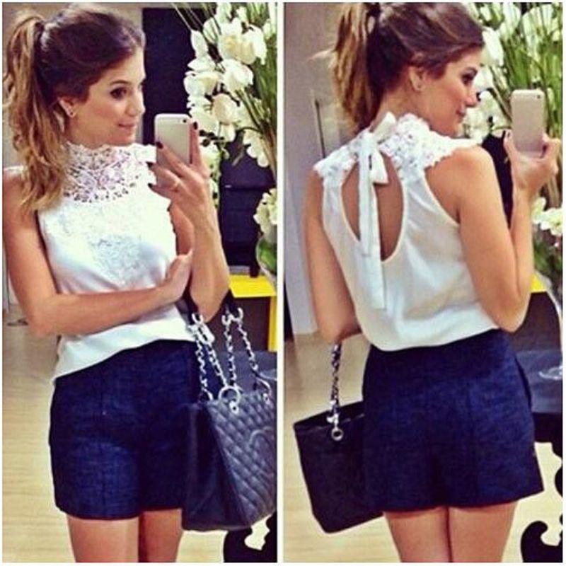 Frauen White Lace Bluse Sleeveless Backless Blusas Femininas Camisas Branca Feminino Feminine Shirts Festa JLU551