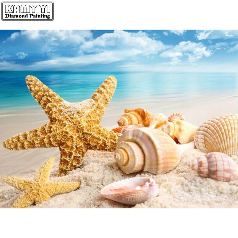 DIY Diamant Peinture Point De Croix mer Coquille étoile de mer paysage Décor À La Maison Pleine Strass Mosaïque 5D Diamant Broderie