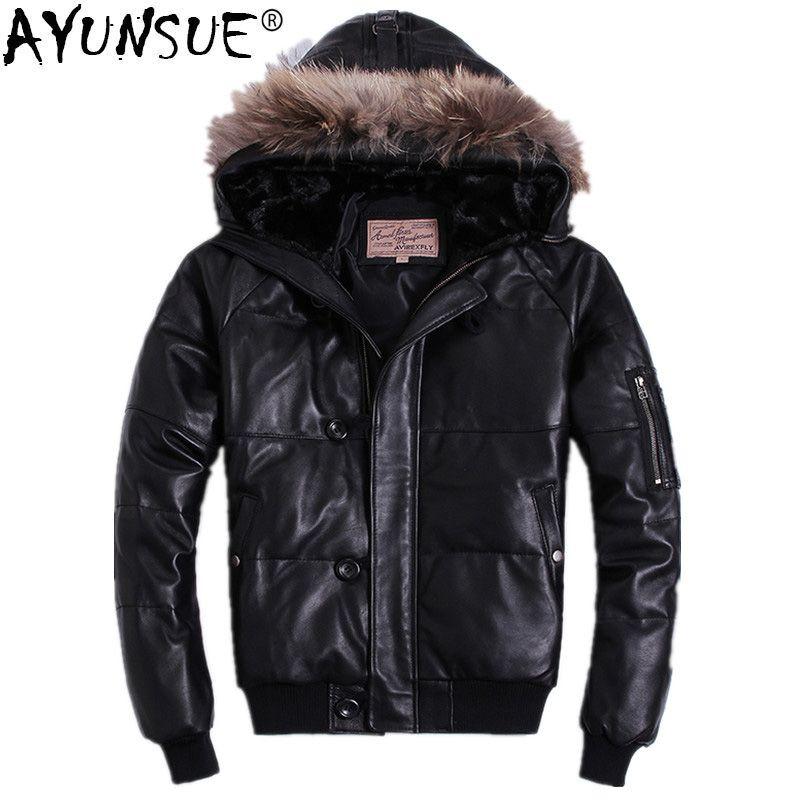 AYUNSUE Men's Down Jacket Hooded Winter Genuine Leather Jacket Short Real Sheepskin Coat Men Clothes 2018 Piumino Uomo KJ1148