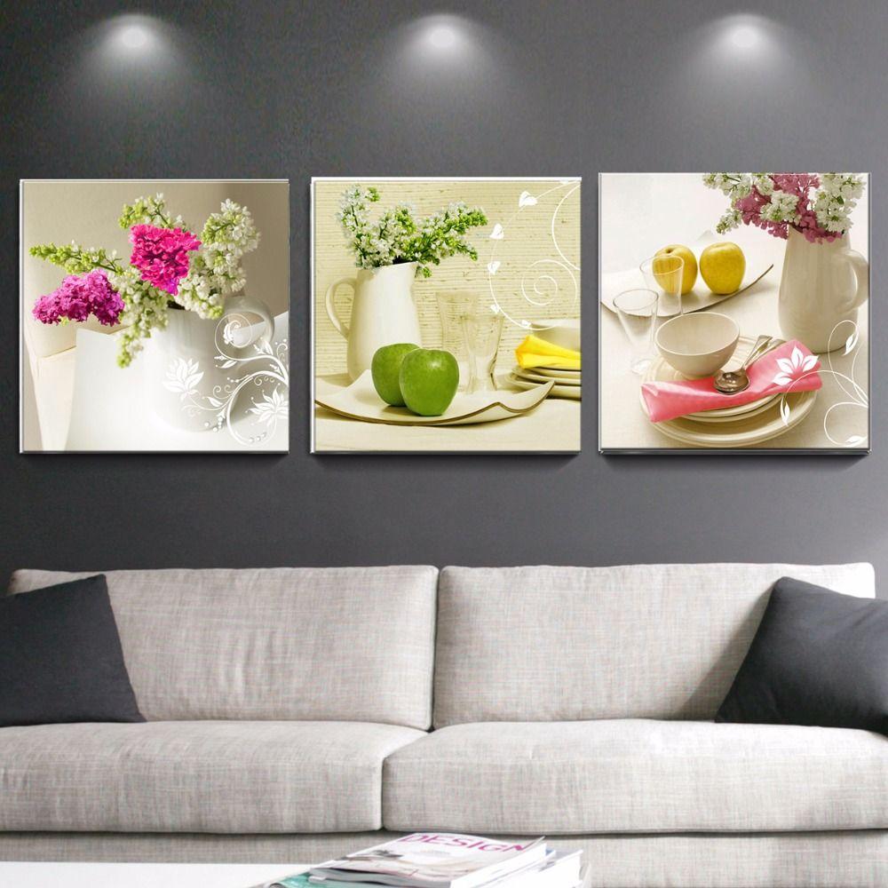 3 pièces toile peintures pour cuisine fruits mur décor moderne fleurs toile art mur décoratif photos pour salon pas de cadre