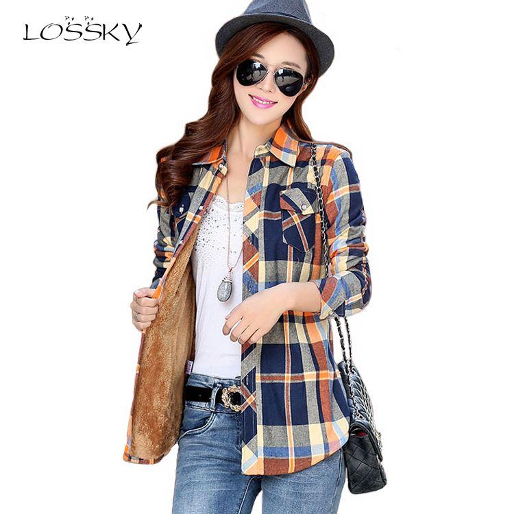 Femmes hiver velours épais garder au chaud Blouses à carreaux à manches longues boutons poche chemise 2018 féminin hauts chemises à carreaux chemise femmes