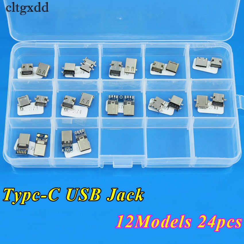 cltgxdd 12Models 24pcs Micro USB 3.1 Type C Connector 12Pin Female Charge Dock Port Replacement Plug USB 3.1 Version Socket jack