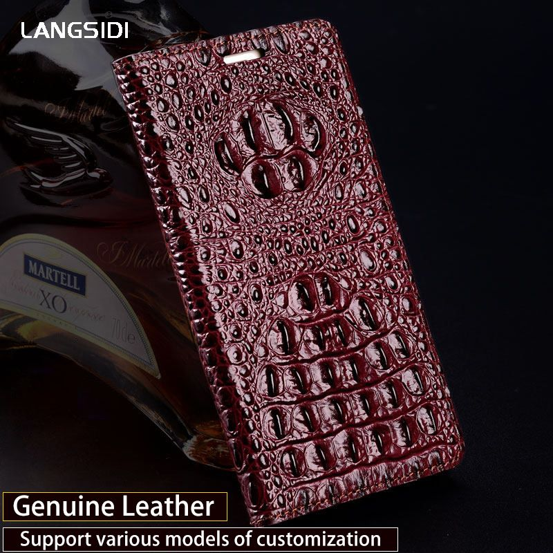 Luxus Echtes leder-schlag-fall Für Vernee Mix 2 fall 3D Crocodile zurück textur weiche silikon-innen shell telefon abdeckung
