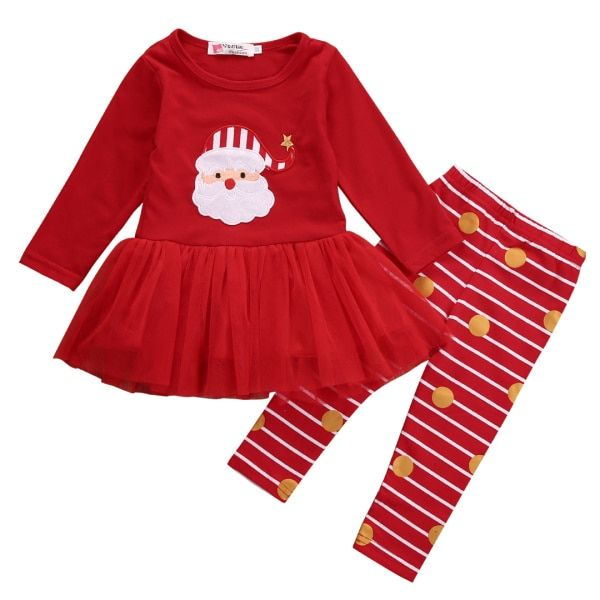 2017 Spring Autumn Infant Baby Girl Clothes Newborn Christmas Gift Red Long Sleeve Tops T-shirt Skirt + Stripe Pants Outfits Set