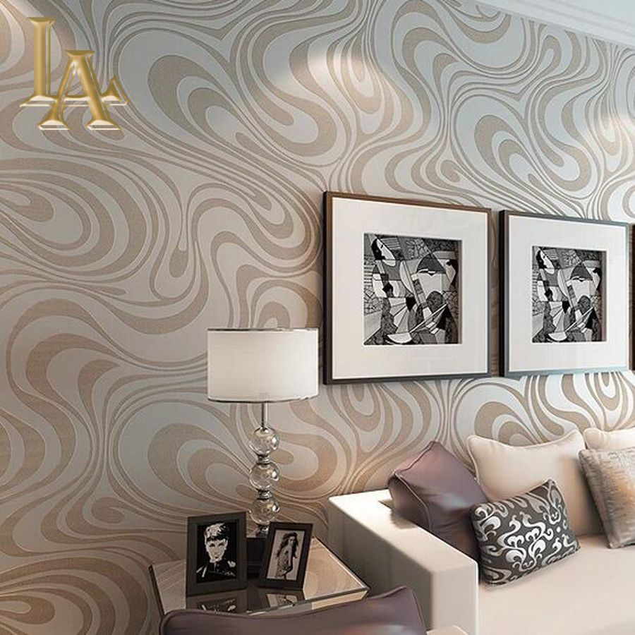 High quality 9.5m*0.53m 3D Embossed Flocking Striped  Mural Wallpaper Roll Modern Living room Wall paper papel de parede W329