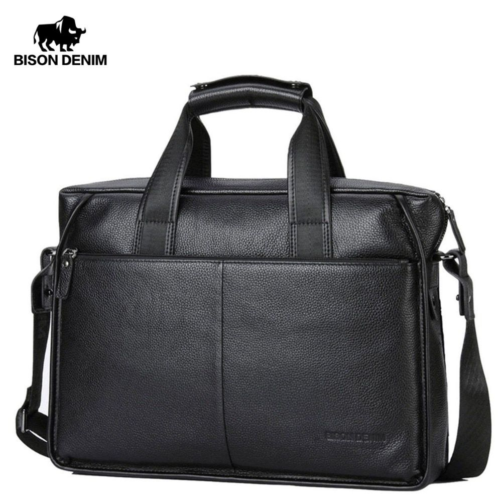 BISON DENIM Genuine Leather Guarantee Briefcase Men Bag 14 inch Laptop Soft Cowhide Messenger Bag Handbag Bag Business N2237-3