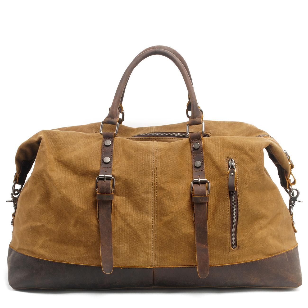 2016 Real Vintage Military Canvas Crazy Horse Leather Men Travel Carry Luggage Duffel Bags Tote Large Weekend Bag Overnight