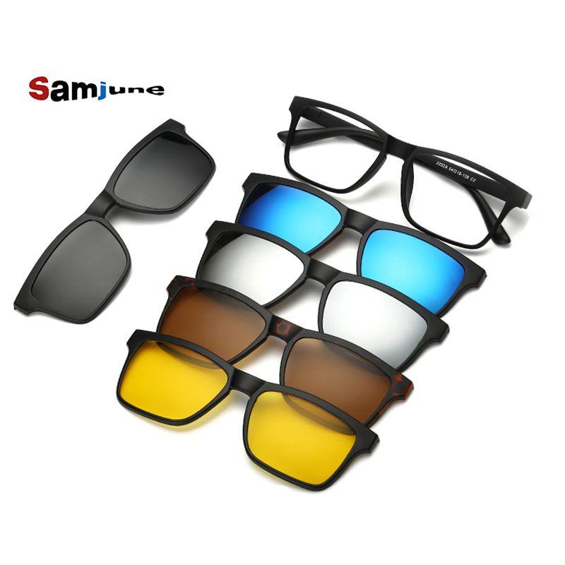 5 lenes Lunettes De Soleil Aimant Clip Miroir Clip sur lunettes de Soleil clip sur lunettes Hommes Polarisées Clips Personnalisé Prescription Myopie