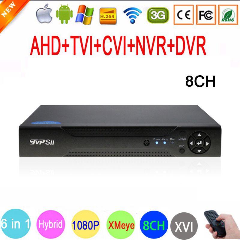 1080P,<font><b>960P</b></font>,720P,960H CCTV Camera 1080N 8 Channel 8CH Hybrid 6 in 1 WIFI XVI NVR TVI CVI AHD DVR Surveillance Video Recorder