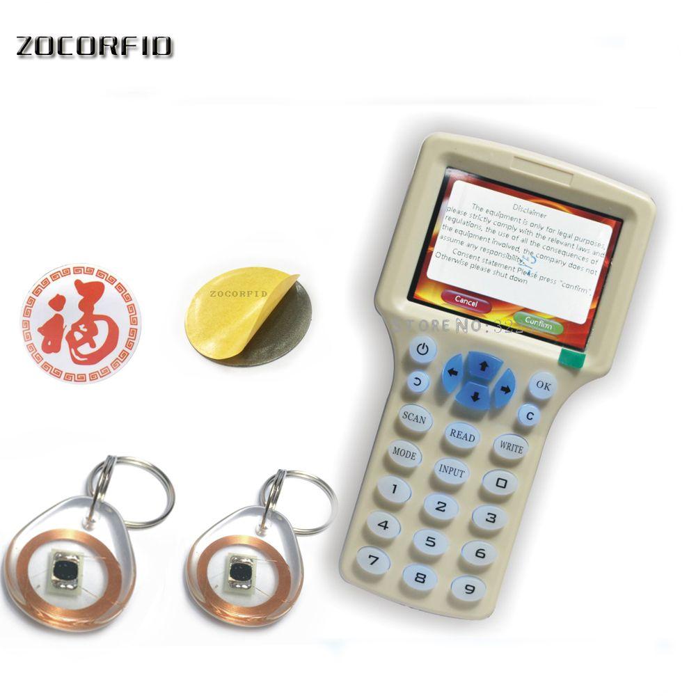 Anglais 10 fréquence RFID copieur contrôle d'accès carte duplicateur gratuit décodage programmeur cristal réinscriptible + autocollant RFID supplémentaire