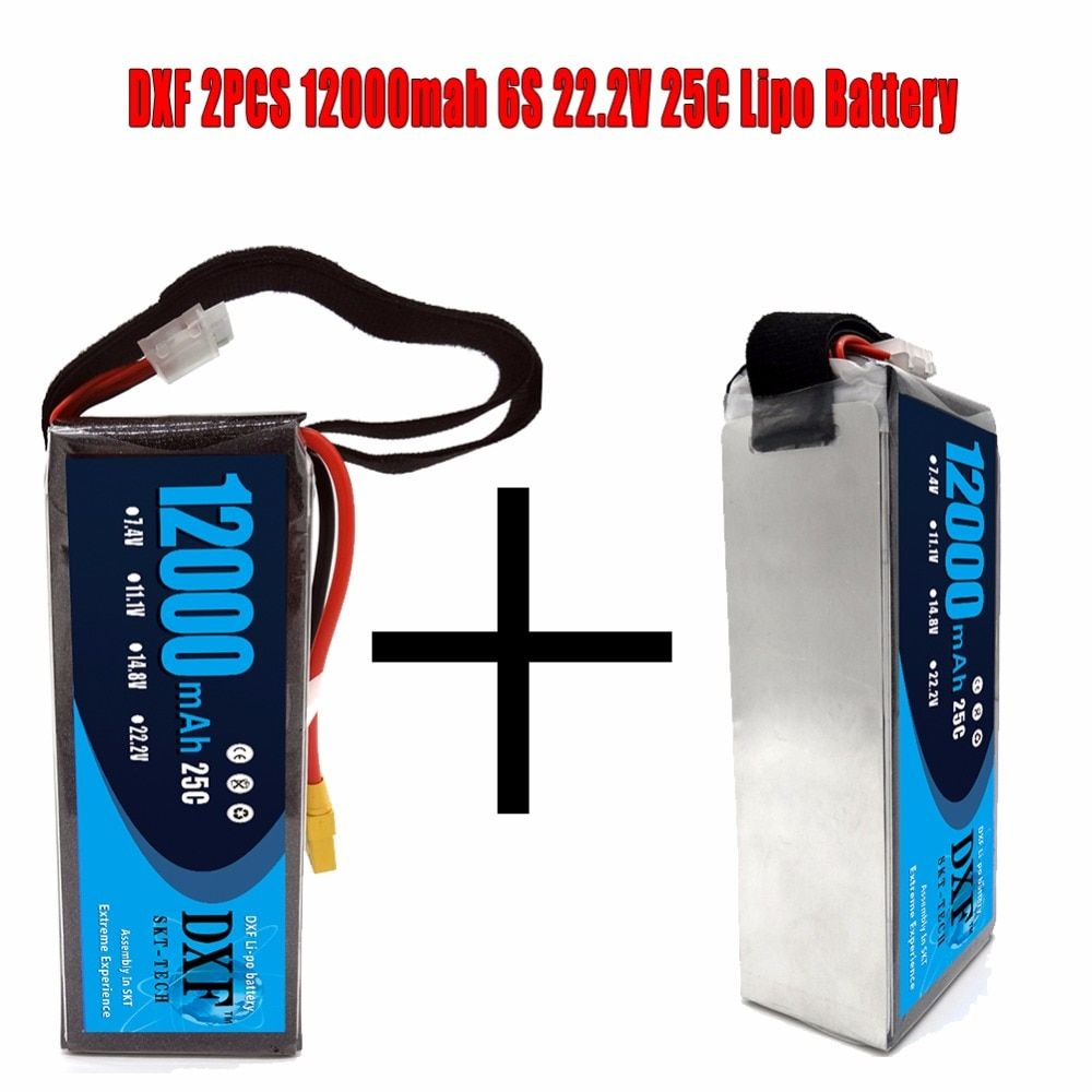 DXF 2PCS Good Quality Lipo Battery 22.2V 12000MAH 25C-60C 6S RC AKKU Bateria for Airplane Helicopter Boat FPV Drone UAV