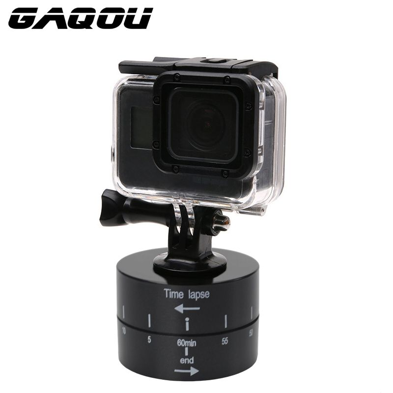 GAQOU 360 Degrees Panning Rotating Camera tripod head Time Lapse Photography for iPhone Mobile For Go Pro Hero6 5 4 3 3+ SJCAM