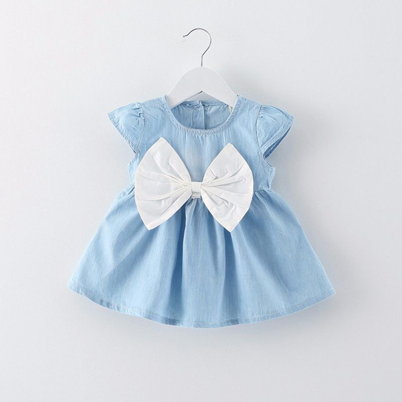 Cute Denim Dress 0-18M Newborn Baby Girls Summer Dress Infantil Toddler Sleeveless Pleated Jeans Mini Dress Vestidos Mujer D35