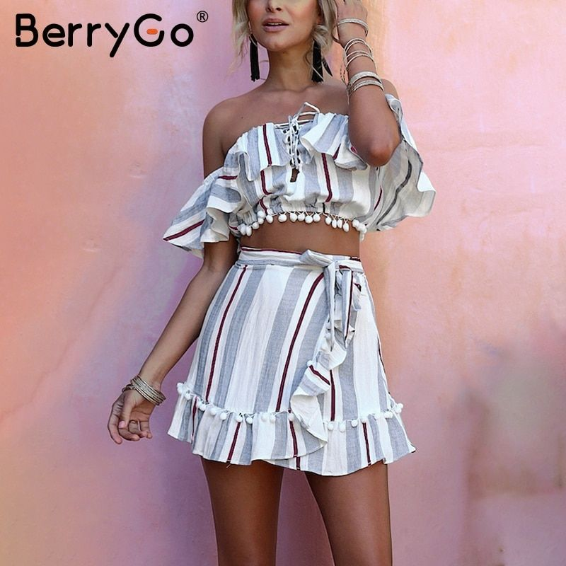 BerryGo Stripe ruffle lace up dress suit Women cropped off shoulder wrap two piece 2018 Summer style short causal dress vestidos