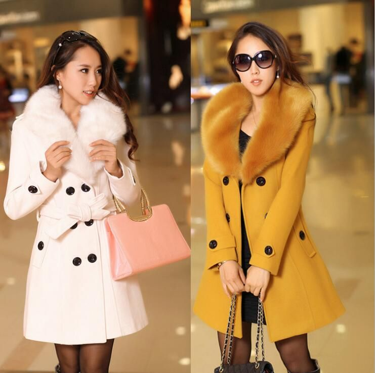 2017 new Winter Womens Double Breasted Big Fur Collar Plus Size Wool Coat Long Winter Jackets Parka Coats Outerwear High Quality
