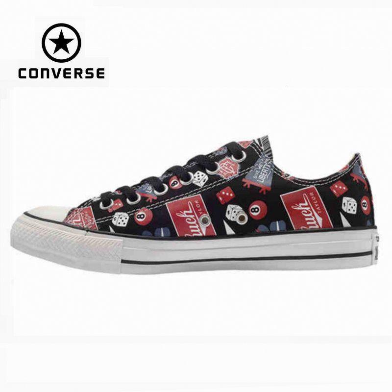 Original Converse all star schuhe männer sneakerspattern hand bemalt niedrige segeltuchschuhe männer klassische Skateboard kostenloser versand