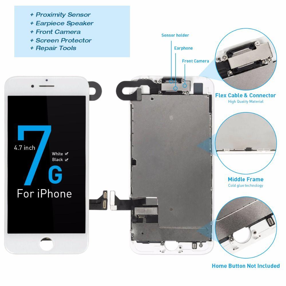 1 pièces OEM LCD pour iPhone 7 7plus affichage ensemble complet numériseur assemblée 3D écran tactile remplacement + caméra avant + écouteur haut-parleur