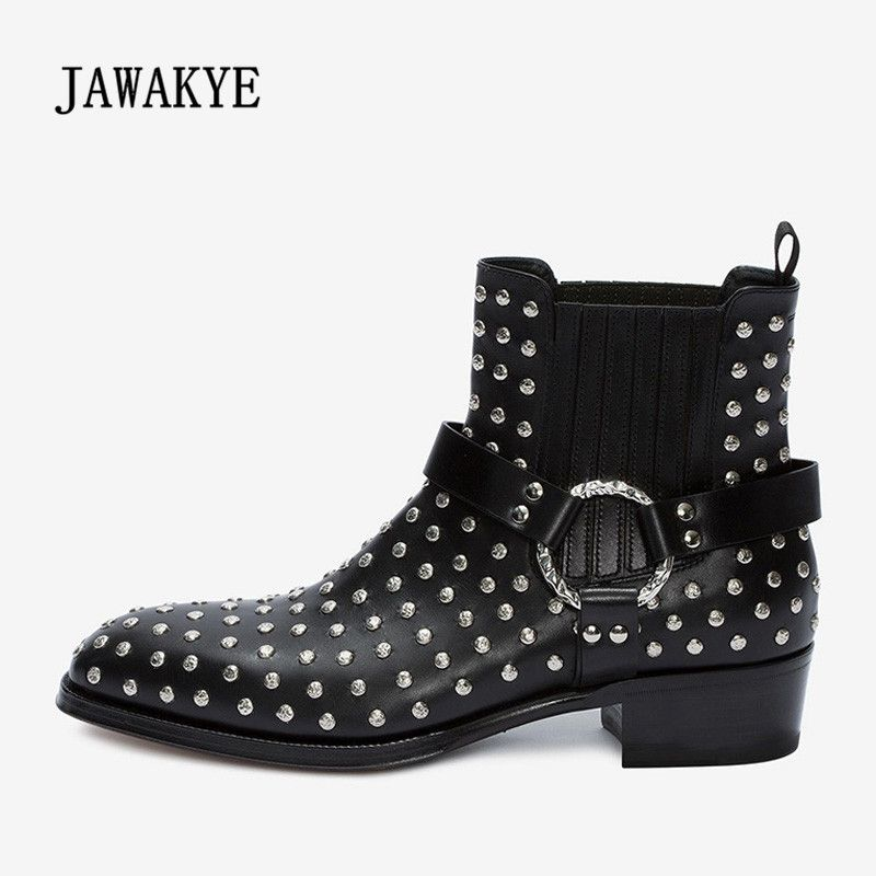 2018 New Arrival Ankle Boots Men Pointed Toe Rivet Metal Buckle Ankel Strap Real Leather Shoes Man Motorcycle Boots