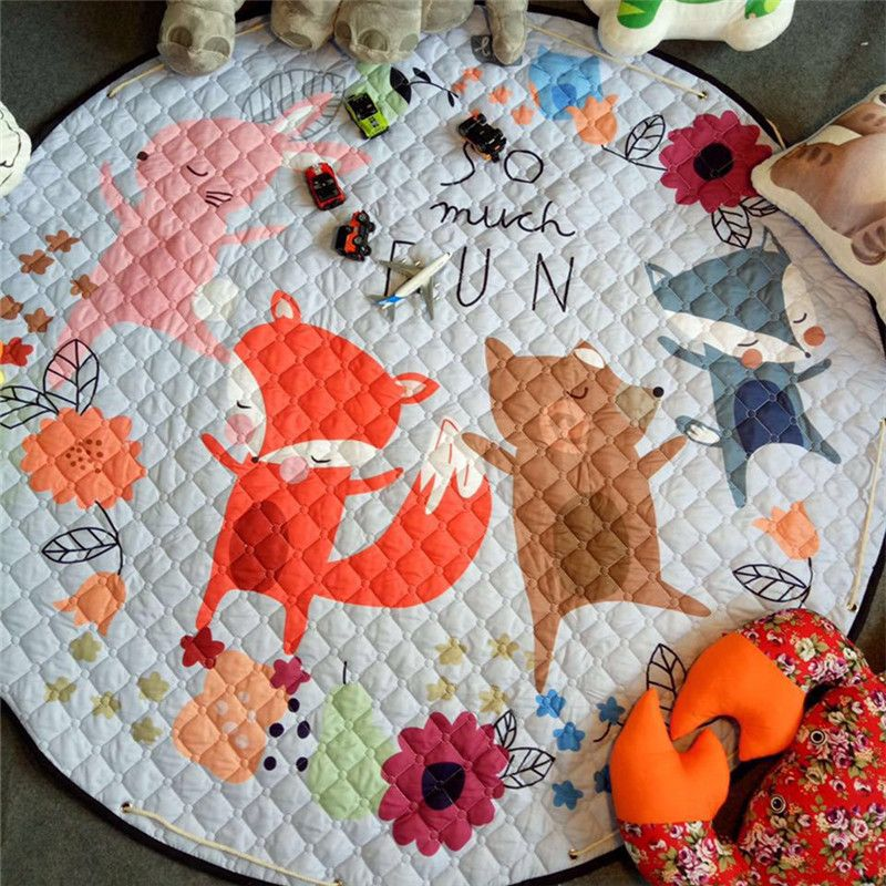 Home Decor Kids room Carpet round 150*150cm fox baby <font><b>play</b></font> mat Patchwork picnic blanket ANITSLIP tapetes para casa sala kid tapis