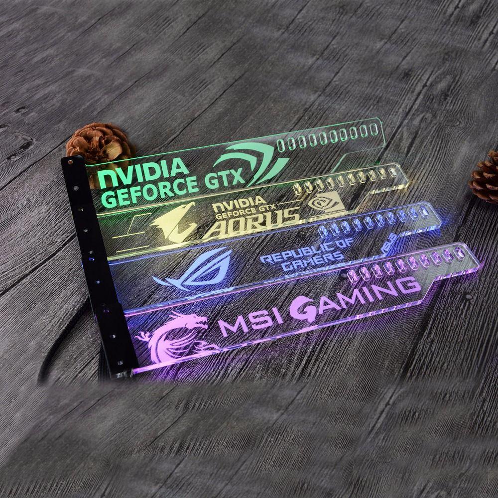 Support acrylique utilisation pour orthèse GPU carte taille 280*45*6mm utilisation pour fixer la carte vidéo 5050 RGB lumière connecter AURA 4PIN 5050 RGB en-tête