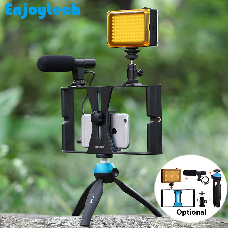 Handheld Stabilizer Tripod LED Flash Light Microphone For Iphone Android Phones/Recording/Photography Stand Video Live Steadicam