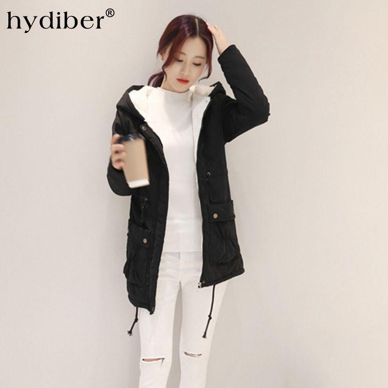 2016 Winter Long Coat Women Jacket Flocking Parkas Hooded Cotton Padded Adjustable Waist Warm Wadded Outerwear Overcoat Tops