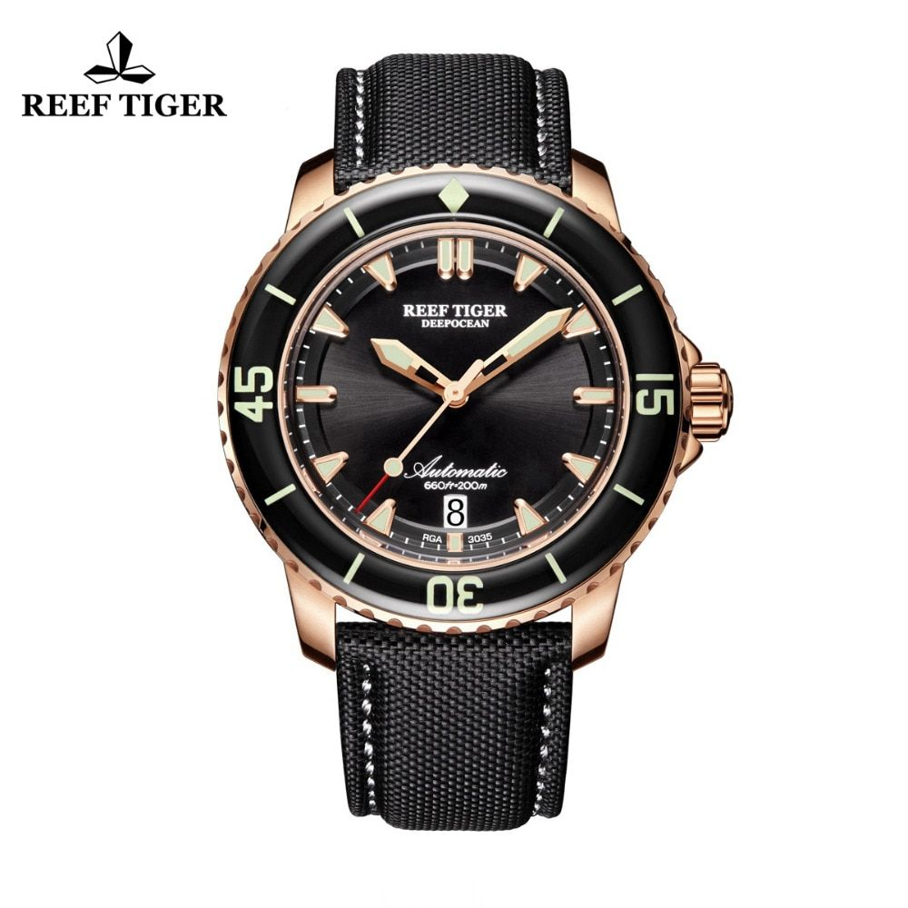 Reef Tiger/RT Mens Dive Watch with Date Super Rose Gold Luminous Automatic Watches Nylon Band RGA3035