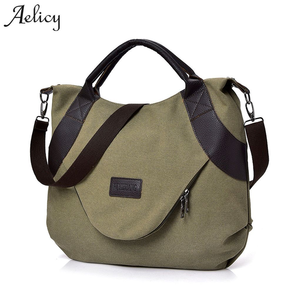Aelicy New Summer Women Canvas Zipper style Shoulder Beach Bag Female Casual Tote Shopping Big Bag Messenger Bags