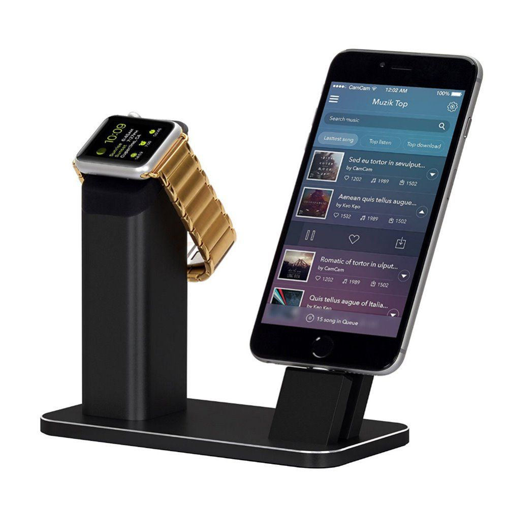 New Aluminum Charging stand Dock Station for Apple Watch NightStand Mode for iPhone 5/SE/6/7 Plus with Various Case Freeshipping