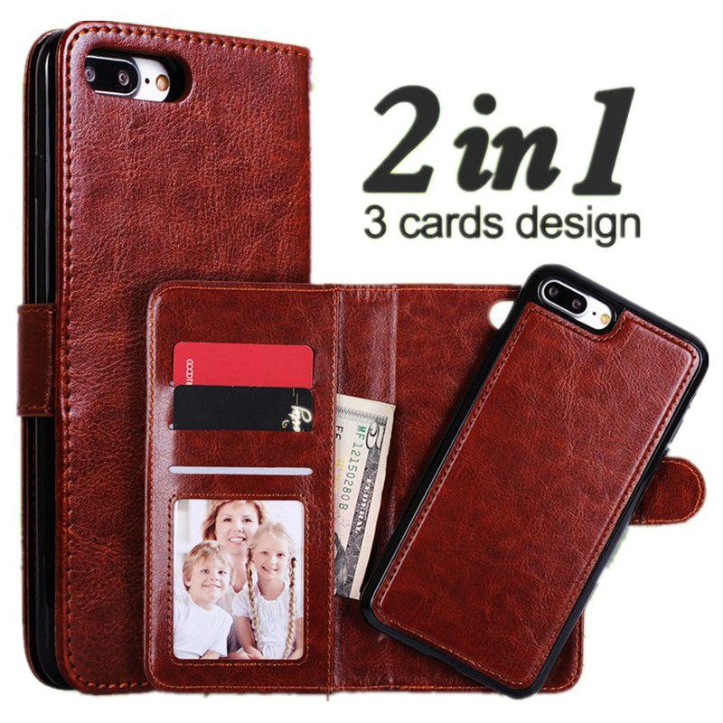 Pour iPhone 7 Plus étui de luxe portefeuille magnétique 2 en 1 détachable Flip couverture en cuir pour iPhone 7 6 6 S Plus étui lanière fente pour carte