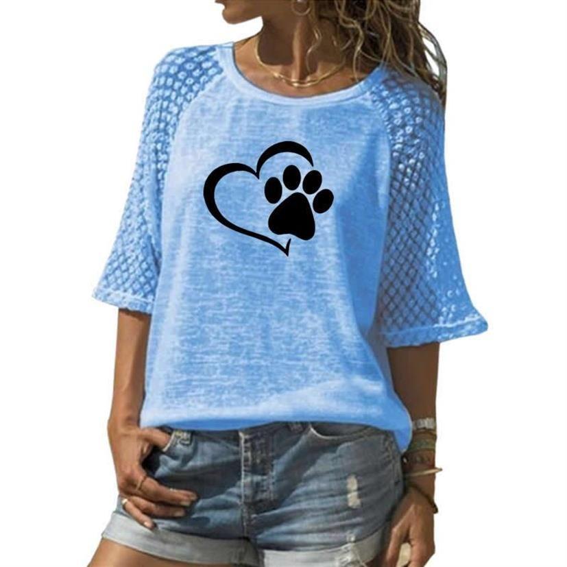 Nouveau mode T-Shirt pour femmes chien patte Animal imprimé dentelle col rond T-Shirt femmes grande taille hauts été mignon Kyliejenner